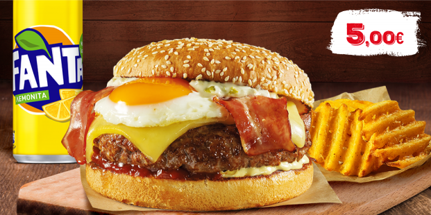 Burger με πατάτες & αναψυκτικό 330ml μόνο με 5€