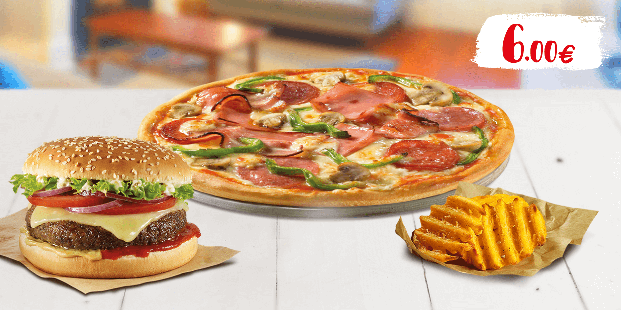 Κάθε Δευτέρα απόλαυσε πίτσα piccola 6τμχ. &  burger με πατάτες στα 6€!