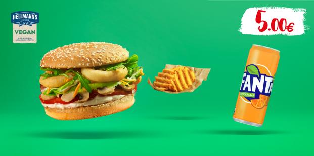 Veggie burger με πατάτες & αναψυκτικό 330ml με 5€